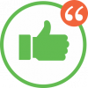 Thumbs up with quotes